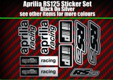 Aprilia RS125 DECALS STICKERS Silver & Black  RS 125 Racing IP, 9 piece